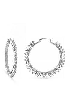 Jessica Simpson Silver-Tone World Bazaar Sparkle Hoop Earrings