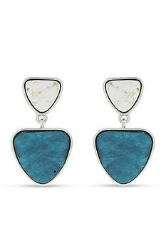 Jessica Simpson Silver-Tone World Bazaar Double Stone Drop Earrings