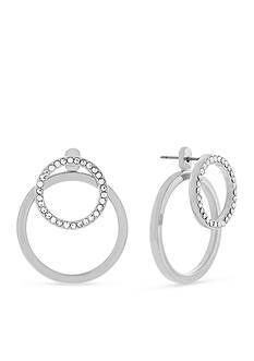 Jessica Simpson Silver-Tone Free Bird Double Cirlce Front and Back Earrings
