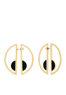 Jessica Simpson Gold-Tone Free Bird Geo Half Circle Front and Back Earrings