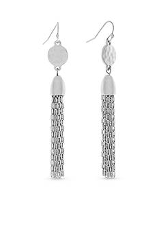 Jessica Simpson Silver-Tone Free Bird Linear Tassel Earrings