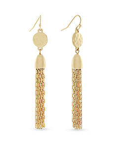 Jessica Simpson Gold-Tone Free Bird Linear Tassel Earrings