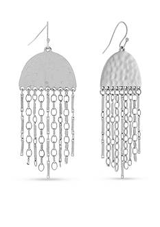 Jessica Simpson Silver-Tone Free Bird Half Circle Fringe Earrings