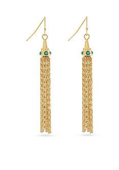 Jessica Simpson Gold-Tone Free Bird Tassel Linear Earrings