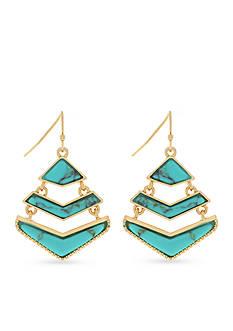 Jessica Simpson Gold-Tone Free Bird Multi Chevron Drop Earrings