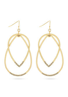 Jessica Simpson Gold-Tone Flip Flop Hoop Earrings