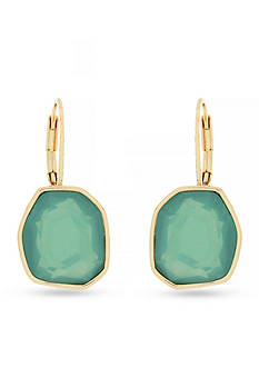 Jessica Simpson Gold-Tone Octagon Green Drop Earrings