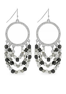 Jessica Simpson Silver-Tone World Bazaar Swag Circle With Fringe Earrings