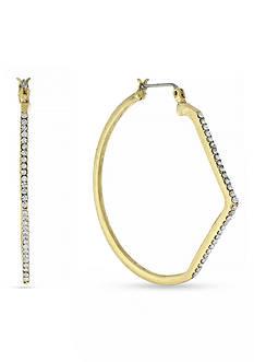 Jessica Simpson Gold-Tone Crystal Asymmetrical Hoop Earrings