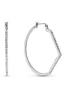 Jessica Simpson Silver-Tone Asymmetrical Hoop Earrings