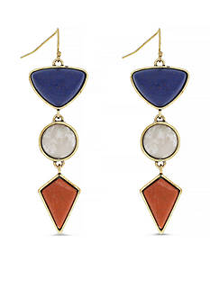 Jessica Simpson Gold-Tone Home Grown Fashion Triple Drop Earrings