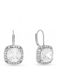 Jessica Simpson Silver Tone Cubic Zirconia Earrings