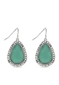 Jessica Simpson Silver-Tone California Coast Metal Green Teardrop Earrings