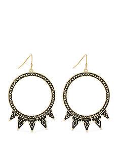 Jessica Simpson Gold-Tone Home Grown Black Tribal Spike Hoop Earrings