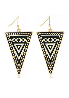 Jessica Simpson Gold-Tone Home Grown Tribal Triangle Drop Earrings
