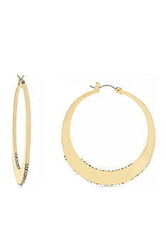 Jessica Simpson Gold-Tone Cry Edge Hoop Core Earrings
