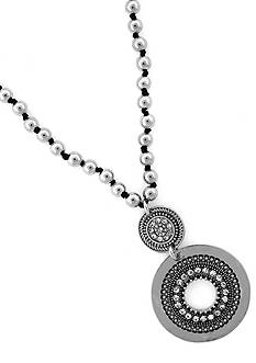 Jessica Simpson Silver-Tone and Crystal Pendant Necklace