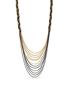 Jessica Simpson Tri-Tone Braided Collar Necklace