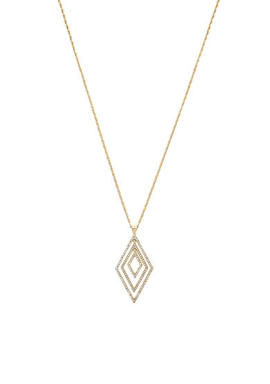 Jessica Simpson Gold-Tone Dancing In The Moonlight Triple Diamond Pendant Necklace