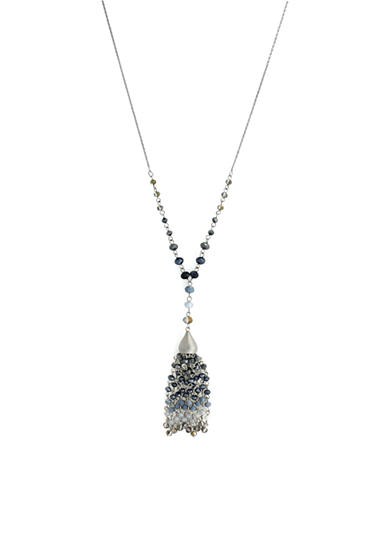 Jessica Simpson Silver-Tone Tassel By Moonlight Beaded Pendant Necklace