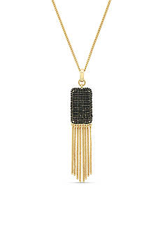 Jessica Simpson Gold-Tone Pave Pendant With Fringe Necklace