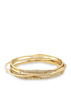 Jessica Simpson Gold-Tone Twisted Pave 5-Piece Crystal Bangle Set