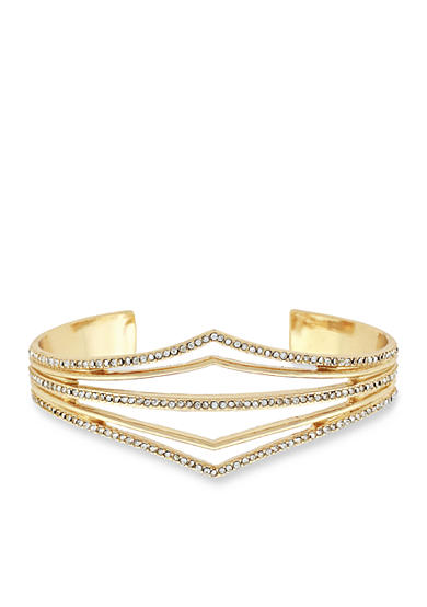 Jessica Simpson Gold-Tone Dancing In The Moonlight V-Shaped Open Cuff Bracelet