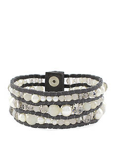 Jessica Simpson Suede Beaded Snap Bracelet