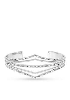 Jessica Simpson Silver-Tone Dancing In The Moonlight V-Shaped Open Cuff Bracelet