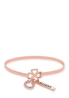 Jessica Simpson Rose Gold-Tone Symbolism Lucky Horse Shoe Charm Bracelet