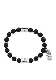 Jessica Simpson Silver-Tone Power Beads Mantras Blessed Grateful Stretch Bracelet