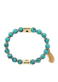 Jessica Simpson Gold-Tone Power Beads Mantras Shine Bright Stretch Bracelet