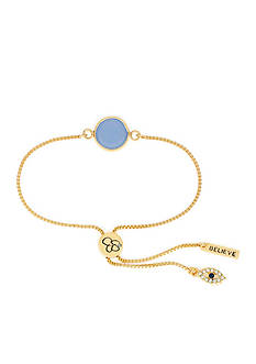 Jessica Simpson Gold-Tone I Believe Blue Slider Bracelet