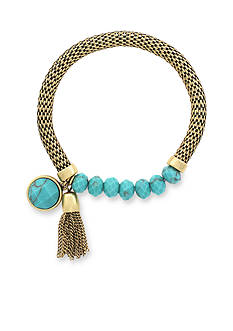 Jessica Simpson Gold-Tone Home Grown Aqua Bead Bracelet