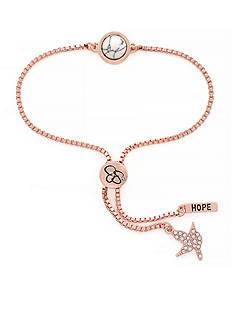 Jessica Simpson Rose Gold I Think You'll Pull Through White Stone Slider Bracelet