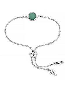 Jessica Simpson Silver-Tone I Think You'll Pull Through Green Stone Slider Bracelet