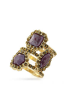 Jessica Simpson Gold-Tone Purple Stone Encrusted Stack Ring