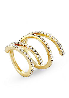 Jessica Simpson Gold-Tone Twisted Pave Ring Set