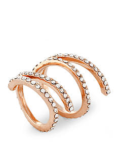 Jessica Simpson Rose Gold-Tone Twisted Pave Ring Set