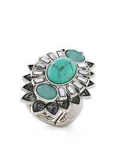 Jessica Simpson Back Stage Pass Turquoise Stretch Ring