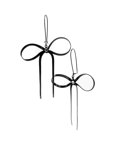 Betsey Johnson Black Bow Drop Earrings