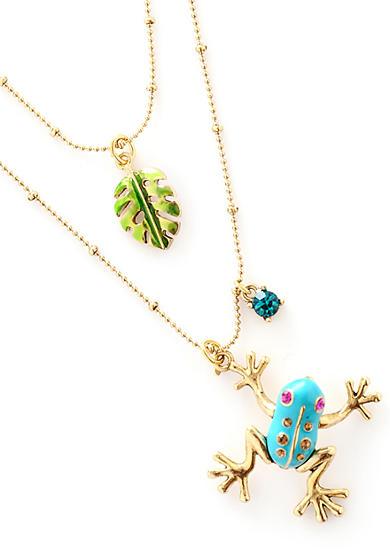 Betsey Johnson Blue Frog and Leaf Necklace