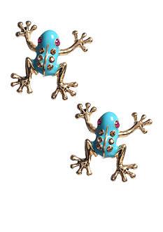Betsey Johnson Turquoise Frog Stud Earring