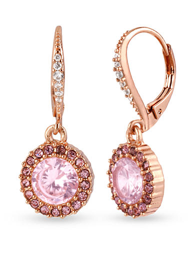 Betsey Johnson Small Pink Round Crystal Drop Earring