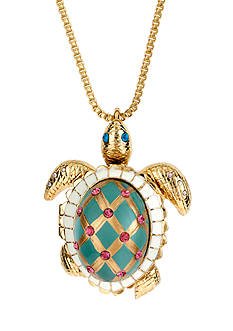 Betsey Johnson Turtle Pendant Long Necklace