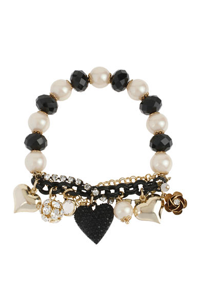 Betsey Johnson Black Heart Half-Stretch Bracelet