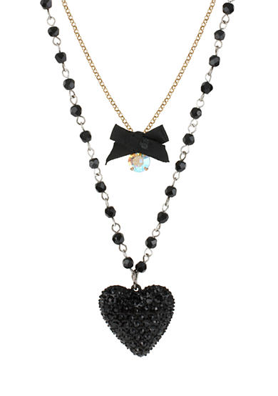 Betsey Johnson Heart and Bow Three-Row Necklace
