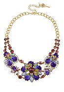 Betsey Johnson Carved Flower Frontal Necklace