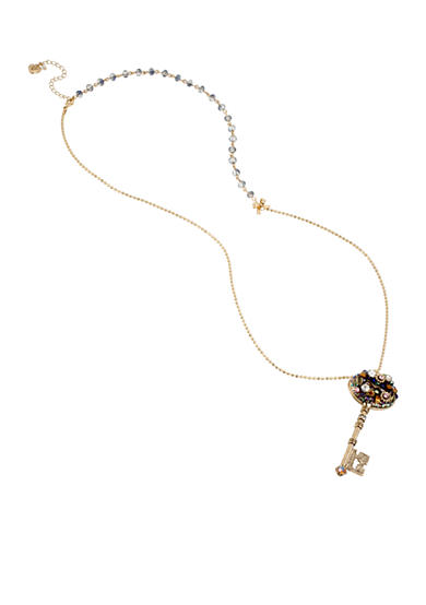 Betsey Johnson Woven Cluster Key Pendant Long Necklace