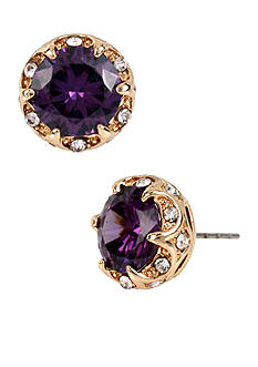 Betsey Johnson Gold-Tone Purple Faceted Stone Stud Earrings